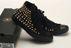 Custom Made Genuine A Black Converse Gold Spike Studs