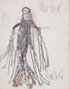Watercolor, gouache and glitter sketch of Mae West by Edith Head and Theadora Van Runkle for Myra Breckenridge (c.1970)