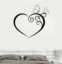 Wall Decal Heart Butterfly Bedroom Romantic Vinyl Sticker Unique Gift tatooart - Sites new Tatoo Art, Body Art Tattoos, Small Tattoos, Herz Tattoo Klein, Wall Stickers, Wall Decals, Sticker Vinyl, Butterfly Bedroom, Muster Tattoos