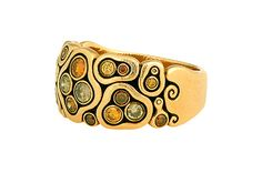 Enthusiastic Natural Mother Of Pearl Gold Plated Big Band Crocodile Textured Adjustable Ring Jewelry & Watches
