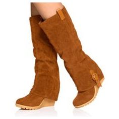 """NWOT Faux Suede Wedge boots Shoe Details Approx. Wedge Height: 4"""" Approx. Platform Height: Less than 1"""" Rubber Wedge Calf Circumference approx 15"""" (based on a SIZE 8) Runs True To Size Synthetic Upper Man Made Sole Shoes Wedges"""