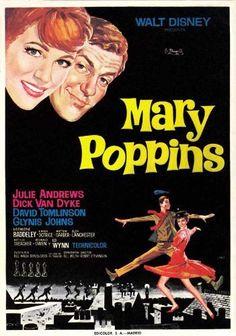 Julie Andrews and Dick Van Dyke in Mary Poppins Mary Poppins 1964, Walt Disney Mary Poppins, Mary Poppins Movie, Matthew Garber, Julie Andrews, Skyfall, Old Movies, Vintage Movies, 1960s Movies