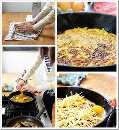 Baked Eggs with Crispy Hash Brown Crust  1 1/2 – 2 cups fresh shredded potato (about 4 medium sized red potatoes)  1/2 tsp salt  6 eggs  3/4 cup shredded cheese (we used sharp white cheddar)  2 Tbsp olive oil for cast iron skillet
