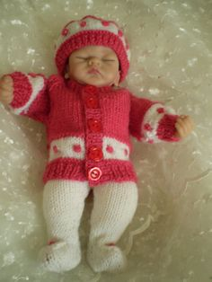Lovely hand knitted 10 Rose pink and white by cazjeanknitting, £5.50