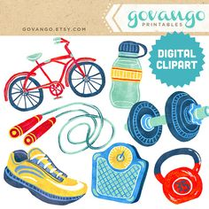 FITNESS Digital Collage Clipart Instant Download by govango