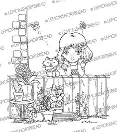 Digi Stamp Idyllic Garden Girl with Cat, Digistamp PNG, Summer Gardening, Nature Floral Flowers, Digital Cardmaking Supplies, Coloring Page