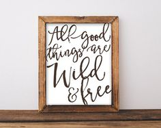 All Good Things are Wild & Free Wall Art File, Boho Chic Bedroom Decor, Wild and Free, Wanderlust Black and White typography, Bohemian Quote
