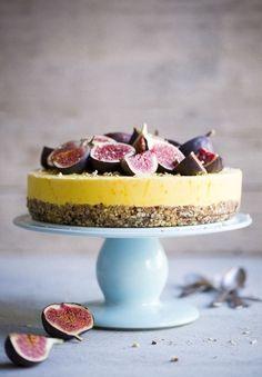 Hazelnut cake with Frozen Saffron Yogurt and Honey Drizzled Figs
