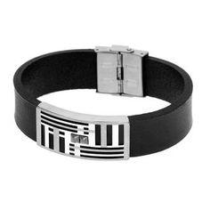 Bracelet homme, acier, cuir, 0.00g, Style moderne - Manège à Bijoux