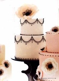 Pink Anemone Cake. Like the black detailing... Maybe in grey?