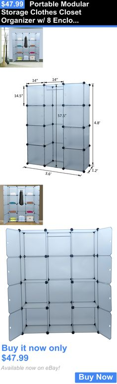 household items: Portable Modular Storage Clothes Closet Organizer W/ 8 Enclosed Cube Shelves BUY IT NOW ONLY: $47.99
