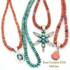 Southwest Designer Coral Turquoise Jewelry Supplies Four Corners USA OnLine Sea Glass Jewelry, Turquoise Jewelry, Bead Jewelry, Silver Jewelry, Jewellery, Lapis Lazuli, Beaded Jewelry Designs, Jewelry Trends, Handmade Jewelry