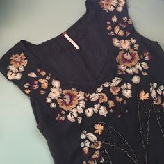 SALE Free People Embroidered Swing Top XS Gorgeous embroidered and embellished top from free people. Perfect condition. Free People Tops Tees - Short Sleeve