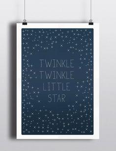 Baby Art Print, Twinkle Twinkle Little Star - Typography, Lullaby, Baby room, Nursery, Baby art, Stars, Sky