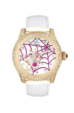 Betsey Johnson Spider Dial Leather Strap Watch
