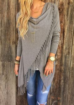 Grey Plain Irregular Tassel Collarless Cardigan Sweater - Cardigans - Sweaters - Tops