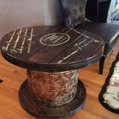 Upcycled wooden cable spool side table