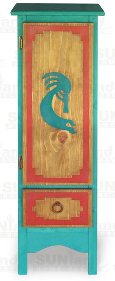 Kokopelli CD Cabinet with Drawer - What a fantastic piece - how simple it would be to create beautiful southwestern images on unfinished furniture at a fraction of the price