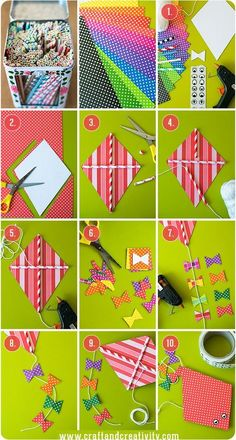Have you ever wondered how to make a kite? If so, then this DIY kite making is the project for you. Let's go and make some paper kites, shall we? Kids Crafts, Diy Projects For Kids, Summer Crafts, Preschool Crafts, Craft Projects, Diy Crafts For Kids, Kids Diy, Craft Ideas, Diy Ideas