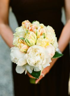 Beautiful cream and blush bouquet with peonies and tulips by Hunt Littlefield