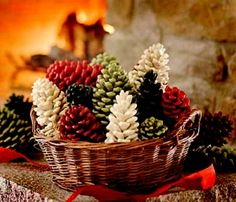 Wax covered Pinecones sprinkled with Cinnamon. Great for display or fire starters
