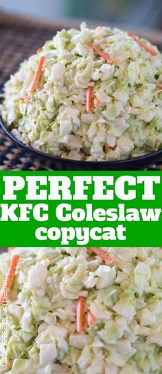KFC Coleslaw (Copycat) - Dinner, then Dessert Copykat Recipes, Slaw Recipes, Cabbage Recipes, Healthy Recipes, Drink Recipes, Chicken Recipes, Vegetable Side Dishes, Vegetable Recipes, Restaurant Recipes