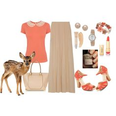 inexpensive coral/taupe maxi skirt outfit