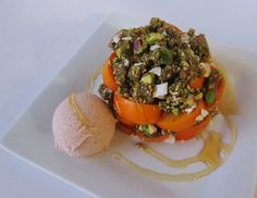 Raw Persimmon Pistachio Crumble with Rosewater Ice Cream