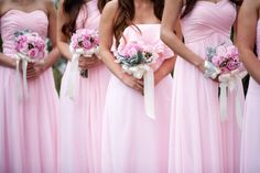 Beautiful bridesmaids, pretty in pink! {Michell Kim Photography}