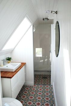 slanted shower with fan light combo