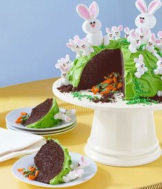 It's super cute, but just wait until you slice into it. #easter #dessert