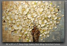ORIGINAL Large White Flowers Oil Painting by ModernHouseArt, $375.00