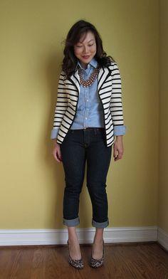 Striped blazer, cropped pants