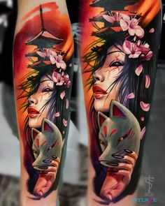 angel tattoos for female, full body tattoos on women, gypsy tattoo sleeve, mens forearm band tattoos Geisha Tattoos, Geisha Tattoo Design, Geisha Tattoo For Men, Hand Tattoos, Forearm Band Tattoos, Body Art Tattoos, Arabic Tattoos, Geek Tattoos, Movie Tattoos