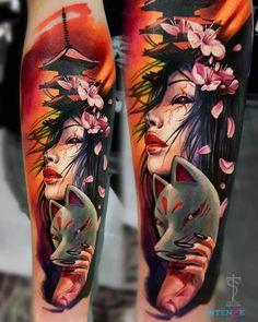 angel tattoos for female, full body tattoos on women, gypsy tattoo sleeve, mens forearm band tattoos Geisha Tattoos, Geisha Tattoo Design, Geisha Tattoo For Men, Gypsy Tattoo Sleeve, Tribal Sleeve Tattoos, Gypsy Tattoos, Engel Tattoos, Kunst Tattoos, Full Body Tattoo