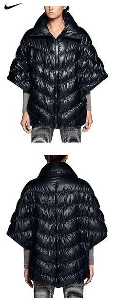 943147e013d7  99 - Nike Womens Cascade Down Poncho Jacket Black Feather (Medium)