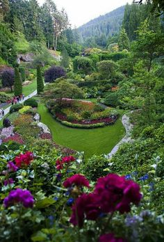 The Sunken Garden ~ Butchart Gardens, Victoria, British Columbia, Canada. Probably one of the 2 most beautiful gardens I have ever visited. Beautiful Landscapes, Beautiful Gardens, Beautiful Flowers, Beautiful Places, Beautiful Gorgeous, Wonderful Places, Simply Beautiful, Amazing Gardens, Buchart Gardens