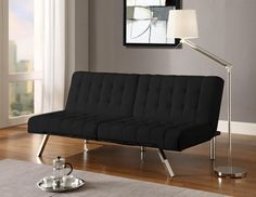 This versatile, multi-position split-back Futon Sofa Bed features rich, water resistant faux-leather which wipes clean and sleek, stylish chrome legs . It easily changes from sofa, to lounger and sleeper with its multi position back and click clack technology. The cushioning is made of high-density polyester and foam for a firm mattress, making it both stylish and comfortable. This little sofa sleeper is perfect for small spaces, apartments, guest bedrooms or just lounging in the living room