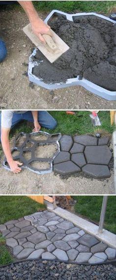 Creative DIY Pavement Mold For Backyard Design