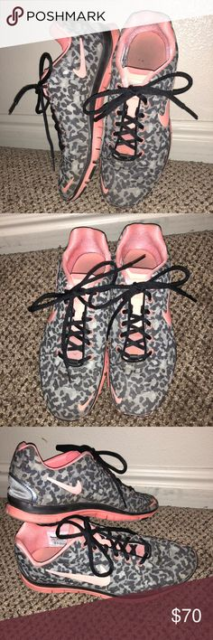 Nike Free Leopard Print Trainers Great condition Nike Frees with leopard print and pink accents/swoosh. Black laces. Slight signs of wear on toes and soles. Nike Shoes Athletic Shoes
