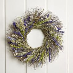Gracie Oaks Dried flowers, grasses, and twigs are evenly splayed to create an enticing mix of green and purple on this seasonal wreath. Cream Flowers, Dried Flowers, Pre Lit Wreath, Pear Blossom, Lavender Wreath, Magnolia Wreath, Wreath Hanger, Berry Wreath, Monogram Wreath