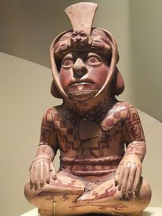 Ceramic vessel of a tattooed priest Moche 100-800 CE Ancash Region Peru