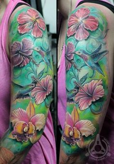 Sleeve Vogel Realistische Blumen Tattoo von Led Coult