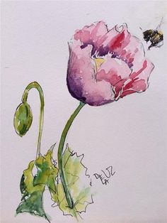 """Daily Paintworks - """"The flower and the bee"""" - Original Fine Art for Sale - © Isabel Frias de la Uz Watercolor Poppies, Watercolor Paintings, Art N Craft, China Painting, Flower Applique, Art For Sale, Watercolors, Art Projects, Clip Art"""