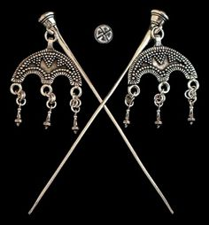 "Viking Dress Pins  Viking Era,  9th - 11th Century    Replica of Private Collection Artifact   Pin is approx. 4 1/2"", Pendant is 1 1/2"" wide.   Viking artifacts of this style & size are extremely rar"