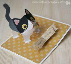 pop-up birthday card [bicolor cat] original handmade by Kagisippo. ---------------------------- [Youtube] https://youtu.be/pkpDRvxhqwo