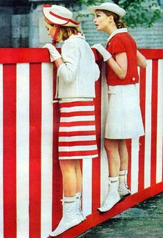 Andre Courreges, gogo boots and peppermint stripes, 1965