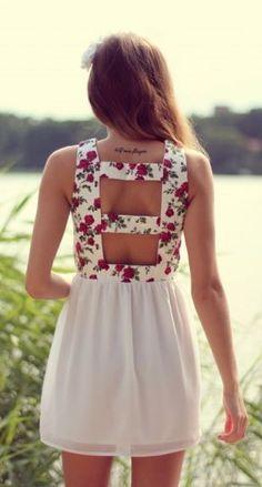 Back floral summer mini dress ...