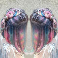 These Photos of Tie-Dye Hair Will Blow Your Magical Unicorn Mind Tie Dye Hair, Dye My Hair, New Hair, Pelo Multicolor, Coloured Hair, Unicorn Hair, Purple Unicorn, Pastel Hair, Purple Hair