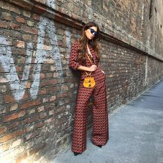 Matchy matchy with the brick wall today while wearing an @Etro_official look and @chloe bag. #neginmilan #mfw